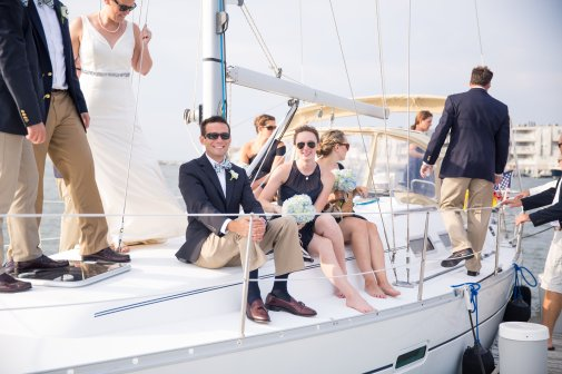 boat ride entrance to little egg harbor yacht club wedding