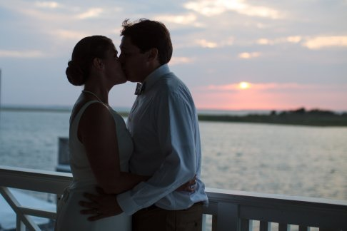 Little Egg Harbor Yacht Club sunset wedding portrait