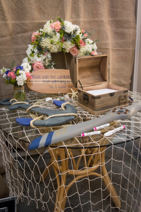 Rutstic nautical wedding guest book and card box