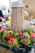 Rustic nautical centerpiece with lighthouse and wreath