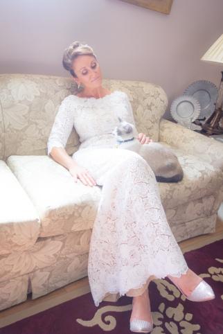 bridal portrait with cat