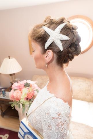 Rustic nautical wedding star fish headpiece