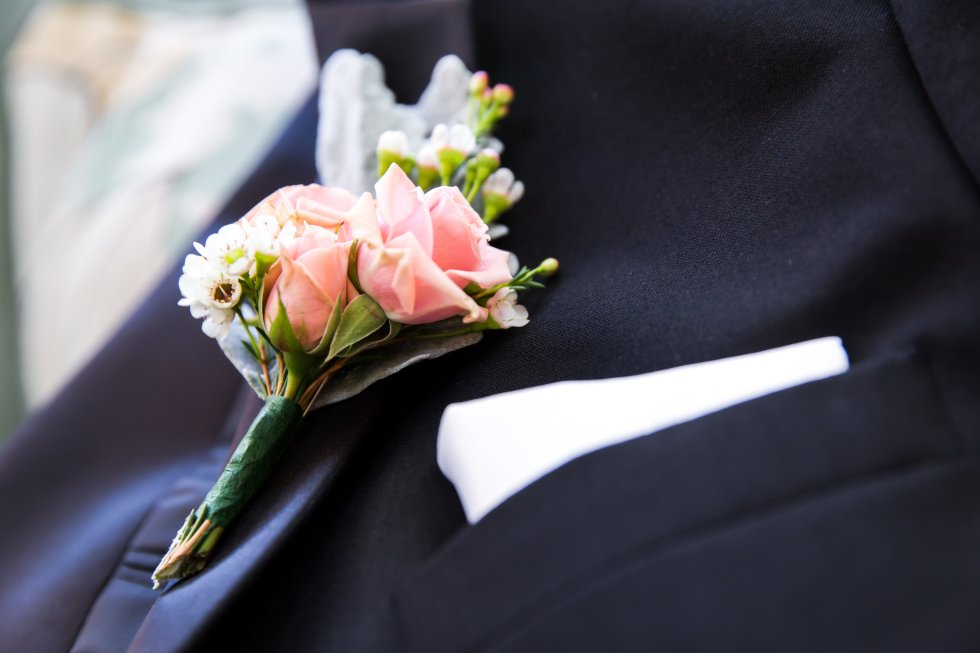 pink rose and wax flower boutonniere with dusty miller
